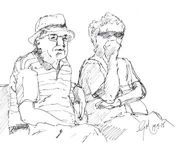 Dessin à l'encre - le vieux couple